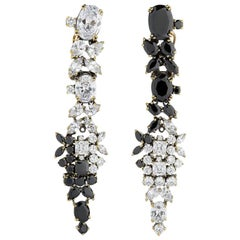 Iosselliani statement chandelier earrings with black and white optical zircons
