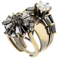 Iosselliani stacked cocktail ring with black and white optical zircons