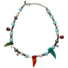 Iosselliani Beaded Freshwater and Natural Stones Necklace