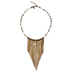 Iosselliani gold fringed necklace in freshwater pearls and jade detail