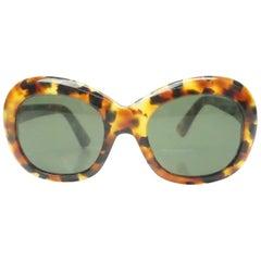 Francois Pinton Tortoise Shell Oval Vintage Sunglasses, circa 1980s