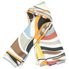 Emilio Pucci Blue, Brown, Orange and Yellow Scarf - NWT