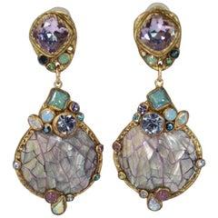 Ella K Lilac Mother of Pearl Drop Clip Earrings