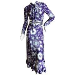Cardinali Purple Mod Daisy Print Silk Dress and Silver Patent Leather Belt, 1970