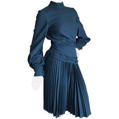 Cardinali Black Silk Lined Pleated Day Dress, 1970s