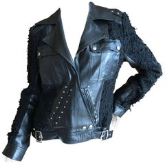 Christian Dior by Galliano Black Lambskin Leather Accented Moto Jacket