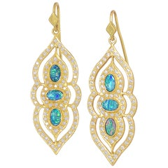 Boulder Opal White Diamond One of a Kind Arabesque Drop Earrings