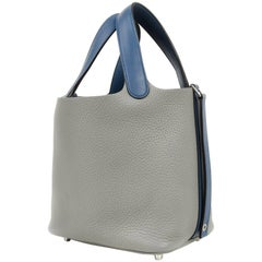 Hermes Picotin Lock Touch Bag 18cm Gris Mouette Blue Agate Limited Edition New