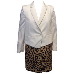 Givenchy White and Leopard Print Knee-Length Cotton Coat
