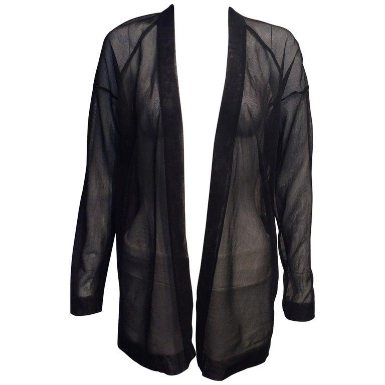 Alaia Black Silk Sheer Open Cardigan  For Sale