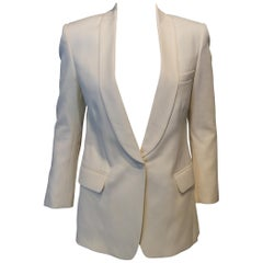 Balmain Ivory Wool Blazer with Tuxedo Lapels and Button Closure Sz Fr34, Us2