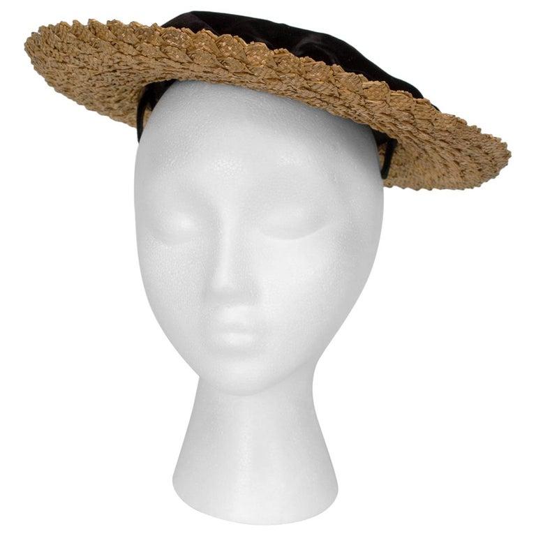e4d81a179 Schiaparelli Paris Velvet and Straw Saucer Boater Hat, 1950s