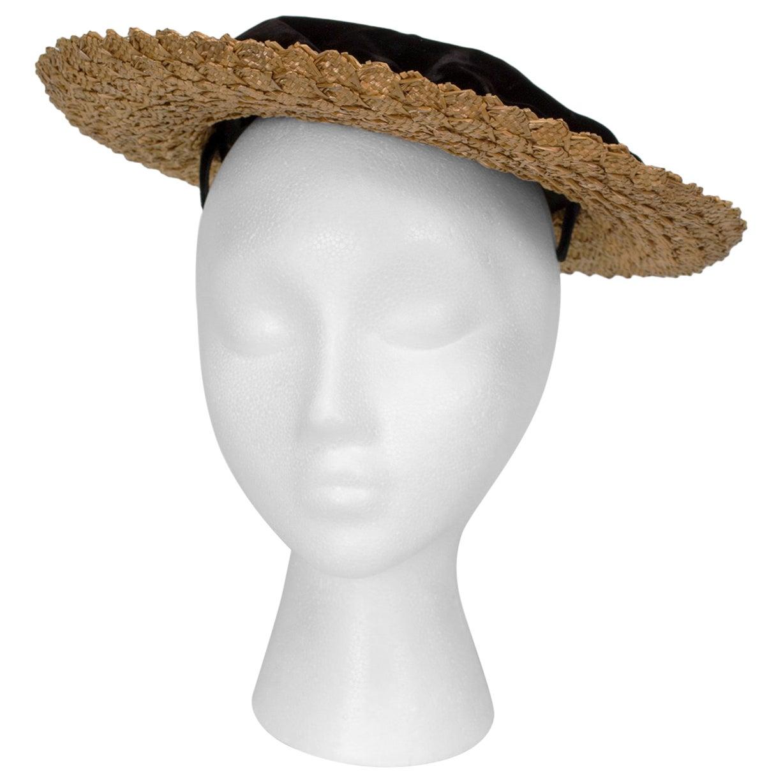 Schiaparelli Paris Black Velvet and Straw Summer Boater Hat - Adjustable, 1950s