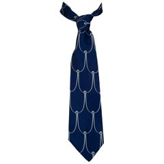 Navy Silk Fish Hook Motif Necktie – Chicago, 1970s