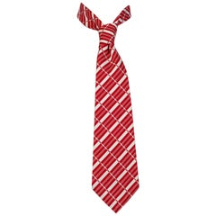 Red and White Graphic Stripe Poplin Necktie – Chicago, 1970s