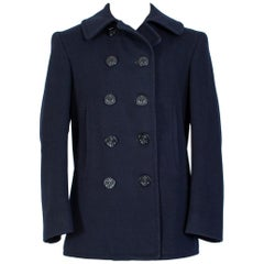 WWII US Navy Military-Issue Kersey Wool Pea Coat, 1940s