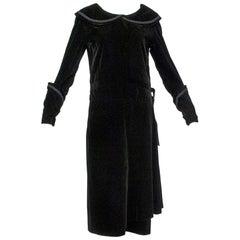 Velvet Bonwit Teller Art Deco Day Dress with Puritan Collar, 1930s