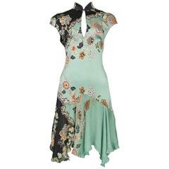 Vintage 2003 Roberto Cavalli Black & Teal Cheongsam Mini Dress