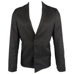 KRIS VAN ASSCHE 36 Regular Black Layered Raw Edge Wool Sport Coat Jacket