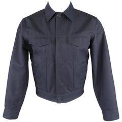 CALVIN KLEIN COLLECTION M Navy Hidden Placket Trucker Jacket