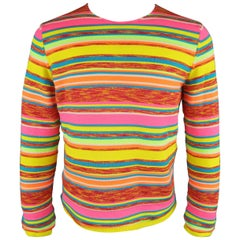 COMME des GARCONS Size M Neon Rainbow Striped Crewneck Sweater