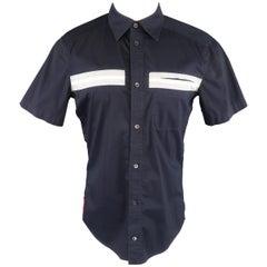 PRADA Size M Navy Solid Cotton Blend Striped Pocket Short Sleeve Shirt