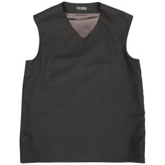 RAF SIMONS Size XS Charcoal Wool V Neck Sleeveless Vest Top '05