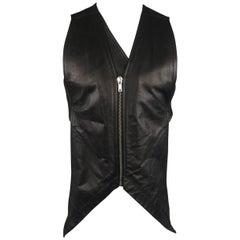 Rick Owens Black Leather Backless Cream Fabric Sash Vest