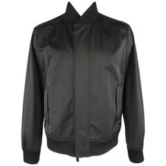 Berluti Black Suede Shoulder Hidden Placket Bomber Jacket