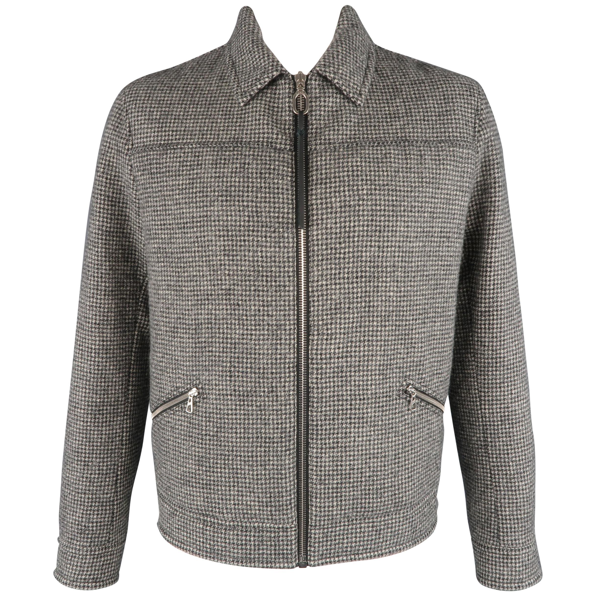 44 Black Beige Zip Blouson Houndstooth amp; For Lanvin Sale Jacket Wool aqdtTaw