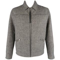 LANVIN 44 Beige & Black Houndstooth Wool Zip Blouson Jacket