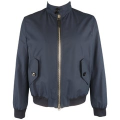 Tom Ford Navy Cotton Stand Collar Bomber Jacket
