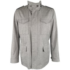 TOM FORD 46 Heather Gray Linen / Wool / Silk Parka Jacket Coat