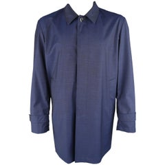 ISAIA 46 Navy Textured Wool Hidden Placket Car Coat Jacket