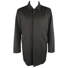 ISAIA 46 Black Textured Wool Canvas Hidden Placket Car Coat Jacket