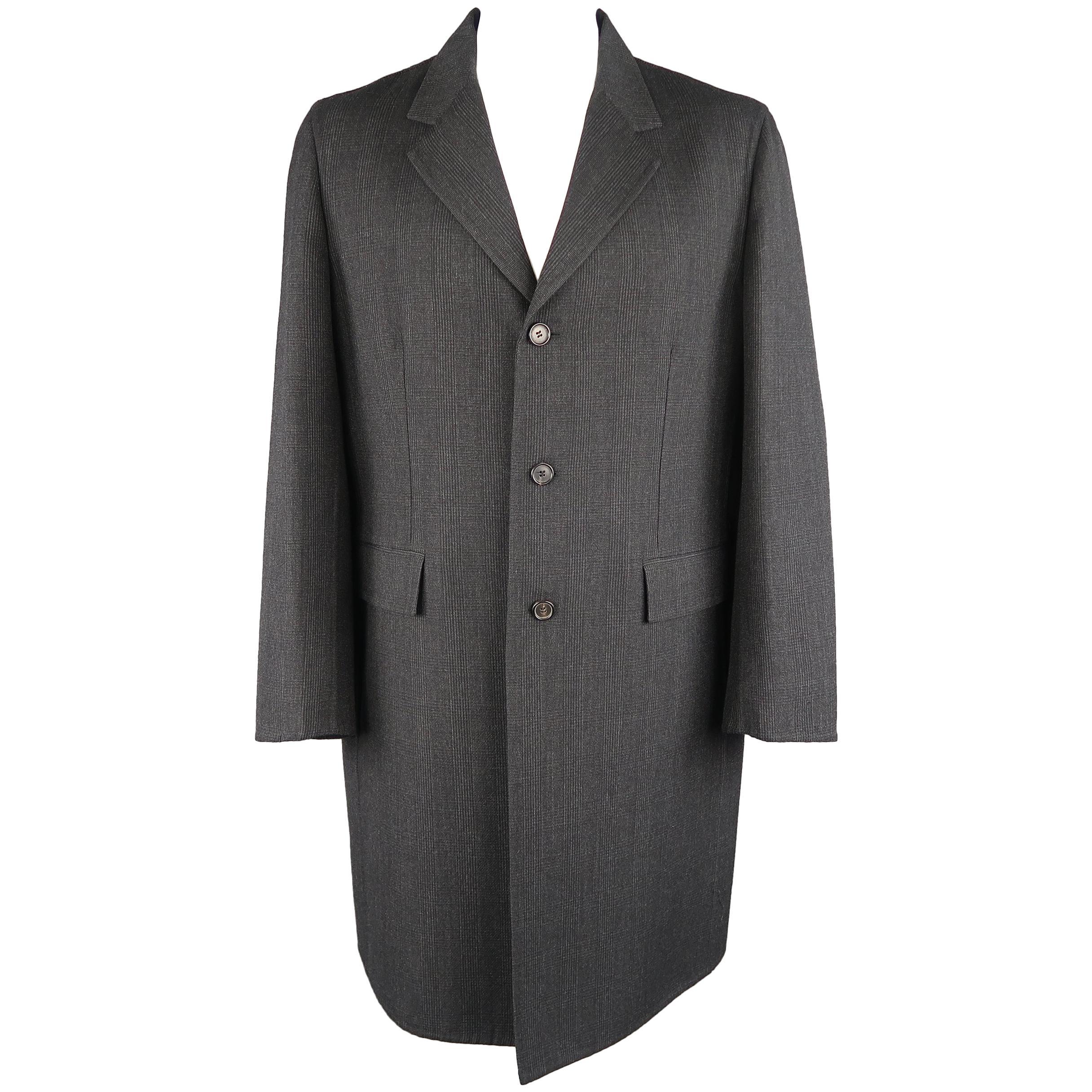 PRADA 46 Charcoal Glenplaid Wool Notch Lapel overcoat Coat Jacket
