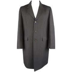 PRADA 46 Charcoal Glenplaid Wool Notch Lapel overcoat Coat Jacket
