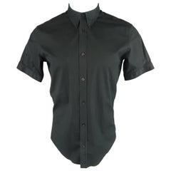 ALEXANDER MCQUEEN Size S Black Cotton Blend Short Sleeve Button Down Shirt