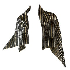 Vintage Christian Dior Large Gold + Black Silk Metallic Beautiful Shawl Scarf