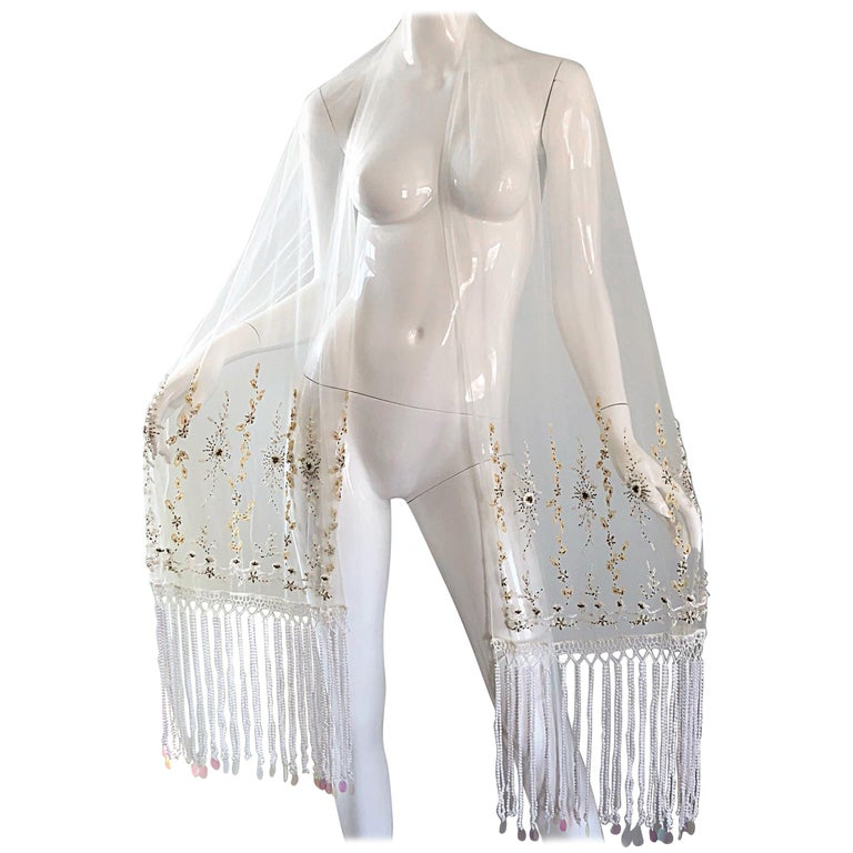 Beautiful Vintage White Sheer Pearl + Beads + Sequins Encrusted Shawl Scarf
