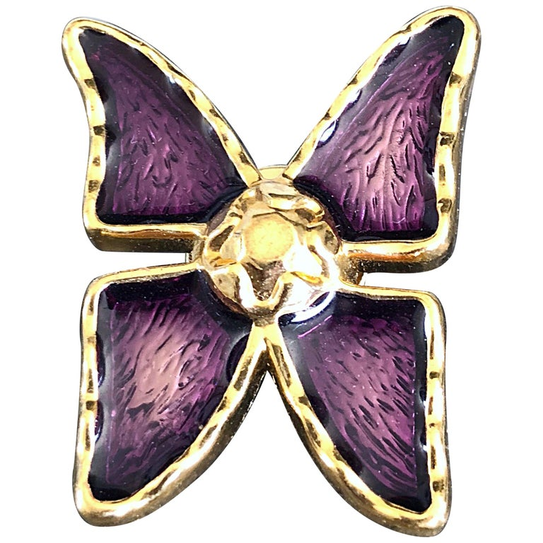 e15950ee0ad22 Vintage Yves Saint Laurent YSL Purple + Gold Butterfly Brooch Pin Pendant  For Sale