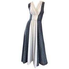 Amazing 1970s Gunmetal Grey + Silver Lurex Metallic Vintage 70s Maxi Dress Gown