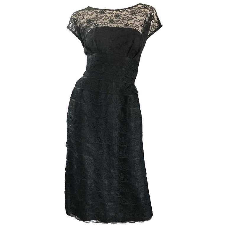 Chic 1950s Black French Lace Nude Illusion Vintage 50s Silk Dress For Sale
