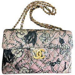 Chanel Vintage pink coated canvas 2.55 jumbo illustration print shoulder bag