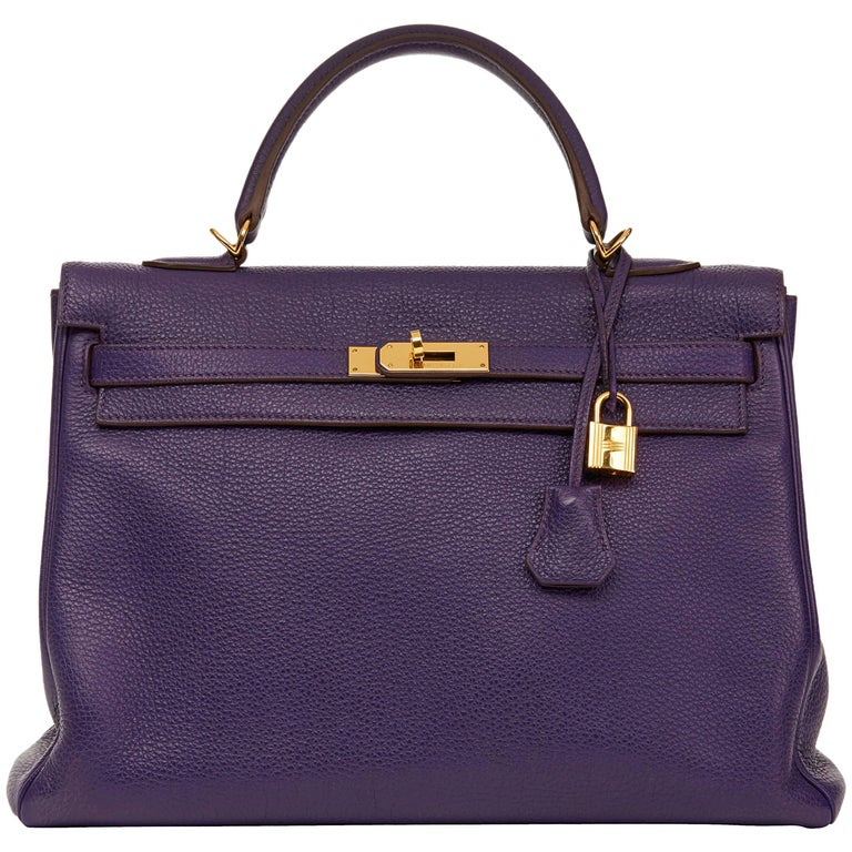 2010 Hermes Violet Togo Leather Kelly 35cm Retourne