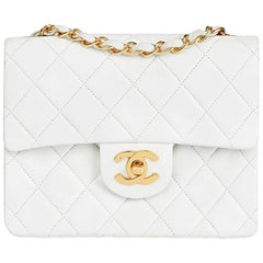 1993 Chanel White Quilted Lambskin Vintage Mini Flap Bag