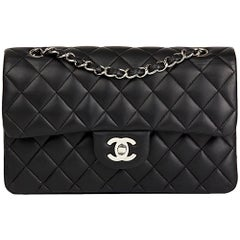 2009 Chanel Black Quilted Lambskin Small Classic Double Flap Bag