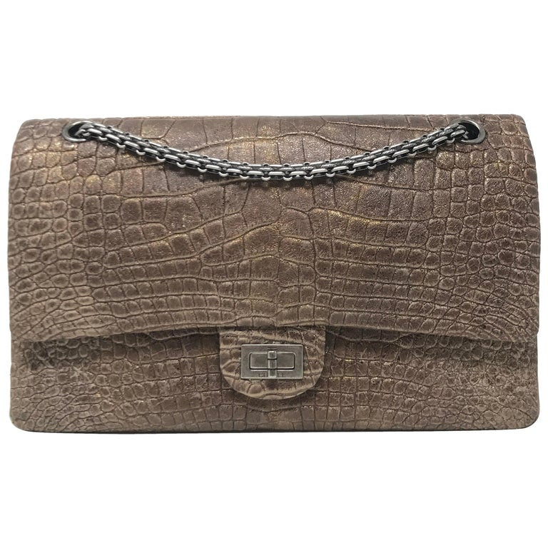 3039c529125d Chanel Alligator Reissue 2.55 Classic Double Flap Bag For Sale at ...