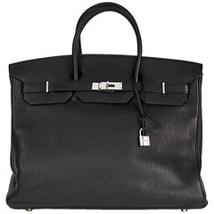 2003 Hermes Black Clemence Leather Birkin 40cm