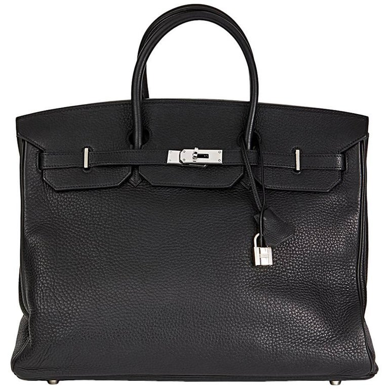 2003 Hermes Black Clemence Leather Birkin 40cm For Sale